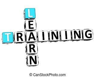 3d, imparare, addestramento, cruciverba