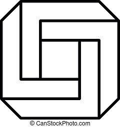3D impossible square - Impossible square icon. Geometric 3D ...