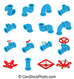 3d, impresión, botón, iconos, conjunto, isométrico, estilo