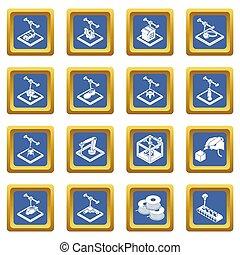 3d, impresión, iconos, conjunto, cuadrado azul