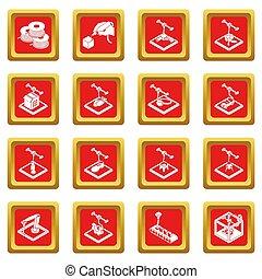 3d, impresión, iconos, conjunto, cuadrado rojo