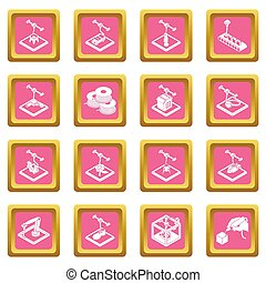 3d, impresión, iconos, conjunto, rosa, cuadrado