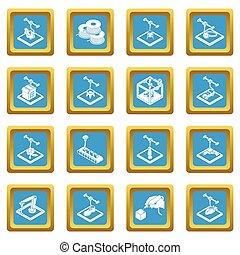 3d, impresión, iconos, conjunto, sapphirine, cuadrado