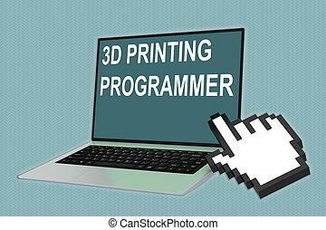3d, impresión, programador, concepto