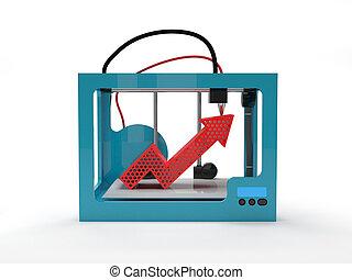 3d, impresora, flecha arriba, rojo