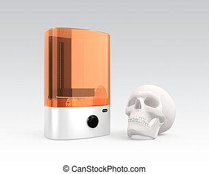 3d, impresora, modelo, plástico, cráneo