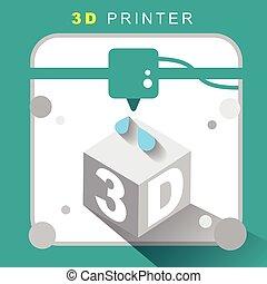 3d, impressora, ícone, com, apartamento, desenho