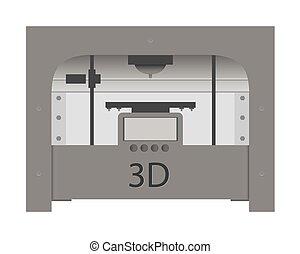 3d, imprimante, icône