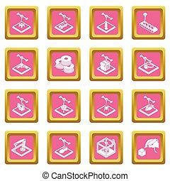 3d, imprimindo, ícones, jogo, cor-de-rosa, quadrado