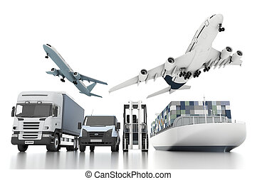 3d, in tutto il mondo, carico, trasporto, concetto