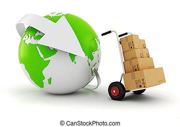 3d, in tutto il mondo, commercio, concetto