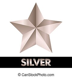 3d, inargentare stella, bianco