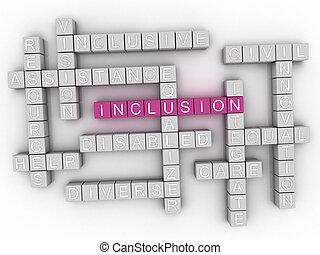 3d, inclusão, conceito, palavra, nuvem