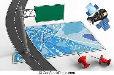 3d index sign - 3d illustration of blue map with index sign ...