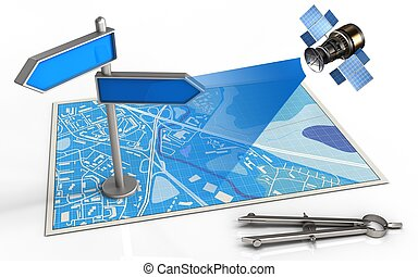3d index - 3d illustration of blue map with index and...