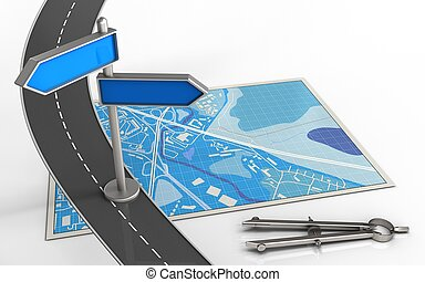 3d index - 3d illustration of blue map with index and circle...