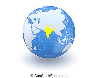 3d., india., globe.