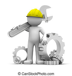 3D Industrial worker with wrench and gears. Conceptual illustration. Isolated on white