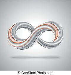 3d infinity symbol. Abstract math background.