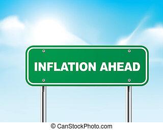3d, inflazione, avanti, segno strada