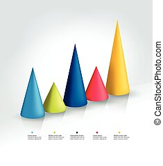 3D infographic cone chart, graph. Info graphics bar.