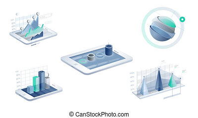 3D Infographic Elements with Alpha Channel. Include two...