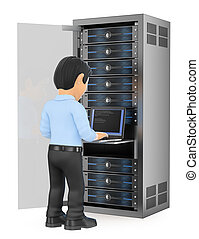 3d working people illustration. Information technology technician working in rack network server room. Isolated white background.