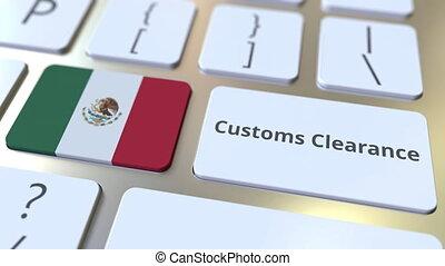 3d, informatique, conceptuel, animation, texte, ou, dégagement, exportation, importation, apparenté, keyboard., douane, drapeau, mexique