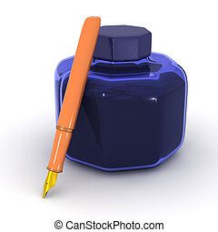 3D Ink Pot and Fountain Pen - A 3D ink pot and a fountain...