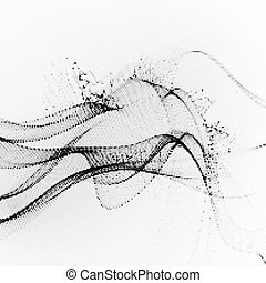 3D ink stylized digital wave