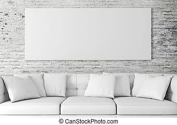 3d, inneneinrichtung, einstellung, mit, couch, und, bl