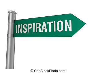3d, inspiração, estrada, ilustração, sinal
