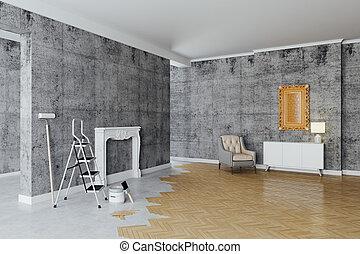 3d, intérieur, salle, décoration, processus