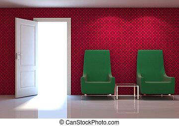 3d, intérieur, scène, de, a, rouges, divan, blanc, classique, mur