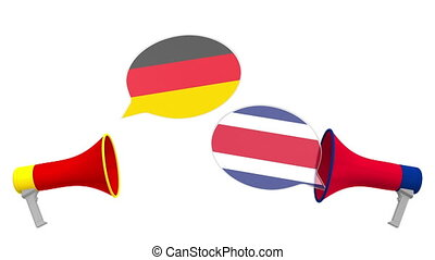 3d, intercultural, loudspeakers., international, allemagne, rica, bulles, pourparlers, dialogue, ou, parole, costa, animation, drapeaux, apparenté