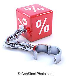 3d Interest rate leg chain - 3d render of a percent sign leg...