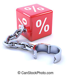 3d Interest rate leg chain - 3d render of a percent sign leg...