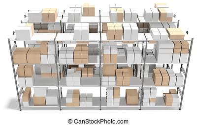 3d, interieur, magazijn, met, rijen, van, planken, en, dozen