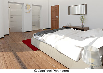 Moderne, vertolking, jacuzzi, ontwerp, slaapkamer,... clipart - Zoek ...
