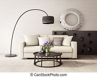 3d interior - 3d render. modern interior room with a...