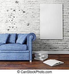 3d, interior, disposición, con, sofá, y, blanco, cartel