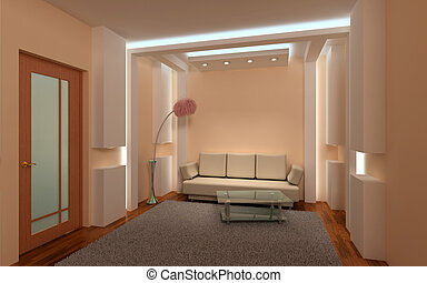 Interior beige lounge. 3D design. Light - neon and six spotlights.