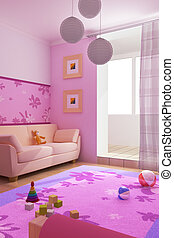 interior of the children\'s room - 3d interior of the...