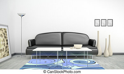 black sofa in a white room