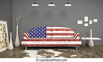 usa flag sofa