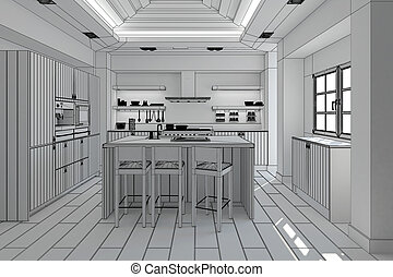 3D Interior rendering of a modern kitchen