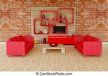 3d interior room with red sofa