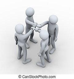 3d interlocked hands of four people