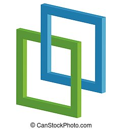 3d interlocking squares icon - Connected intersecting square...