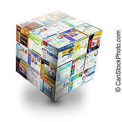 3d, internet, sitio web, caja, blanco